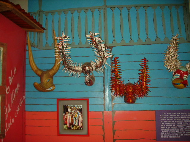 Museum exhibit of old masks