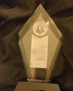 IBPA Gold Award trophy